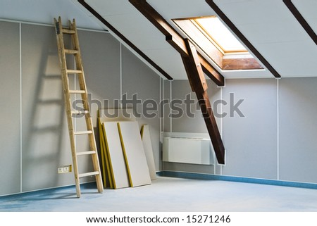 ladder and construction materials indoor - stock photo