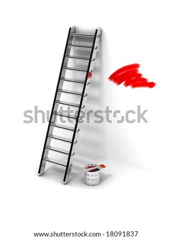 ladder and paintbrush