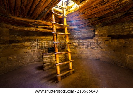 Ladder descending into kiva, Mesa Verde National Park, Colorado. Stock photo ©