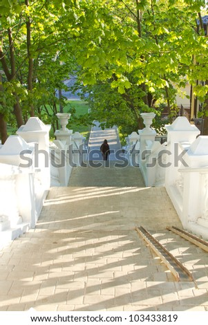 ladder down early in the morning - stock photo