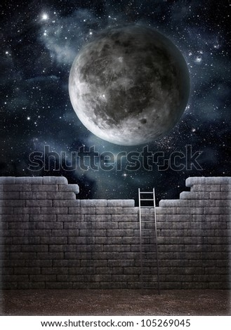 Ladder leading to a better place - freedom and opportunity concept - stock photo