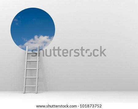 Ladder leading to sky - 3d render illustration