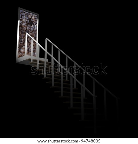 Ladder leading up to the rock wall dead end in darkness.