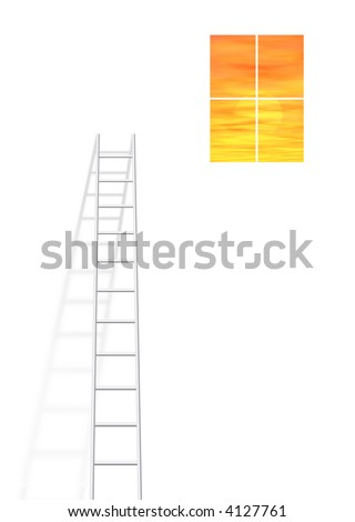 Ladder leading up to window