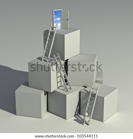 Ladder of success concept, 3d man climbing ladders to the top of the boxes on white background