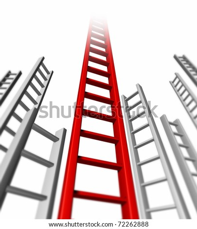 Ladder of success isolated representing success and persistence