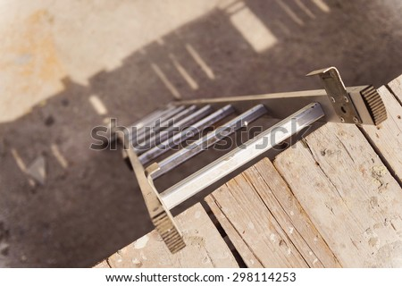 Ladder on a construction site. High angle view.