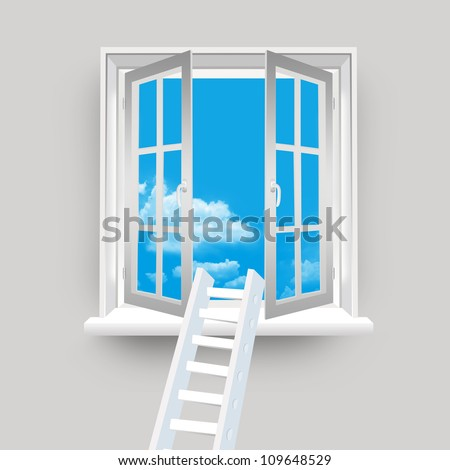 Ladder on Open Window to The Blue Sky