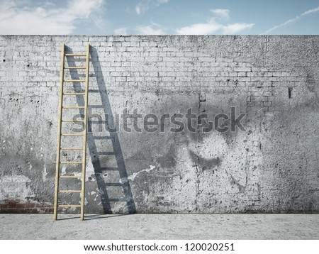 Ladder on wall in front of sky
