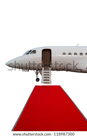 Ladder Private Jet And Red Carpet Isolated On White Background Stock Photo 11