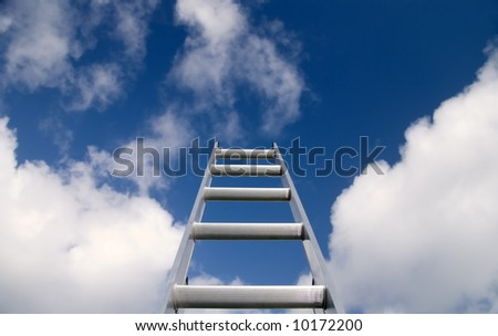 Ladder reaching into a deep blue sky with white clouds