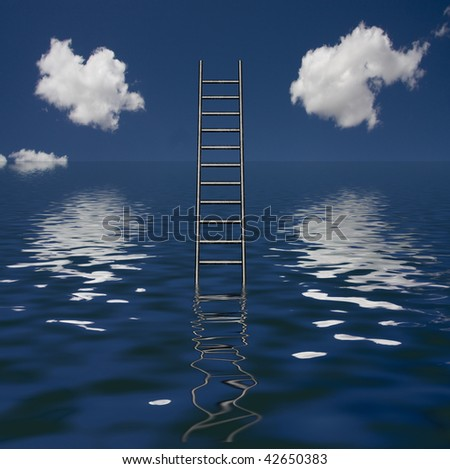 Ladder Rises out of Body of Water