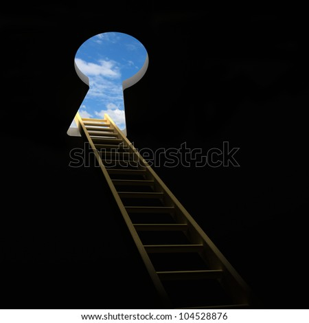 Ladder through keyhole to the sky