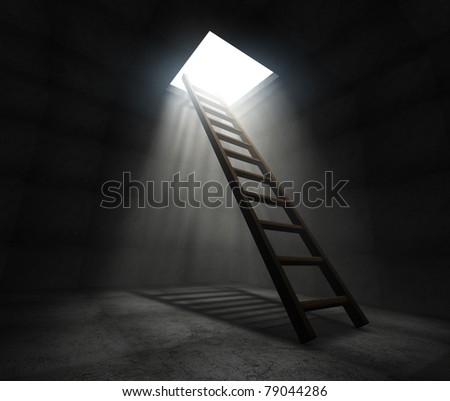 Ladder to freedom - stock photo