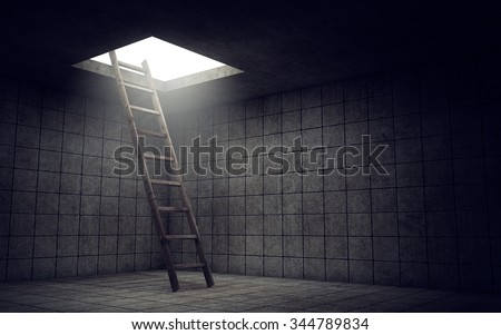 Ladder to freedom from dirty room Stock photo ©