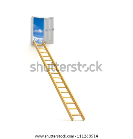 Ladder to sky door isolated over white background