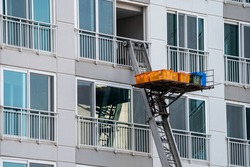 Ladder truck used for moving in service, especially for high-rise apartment building in South Korea