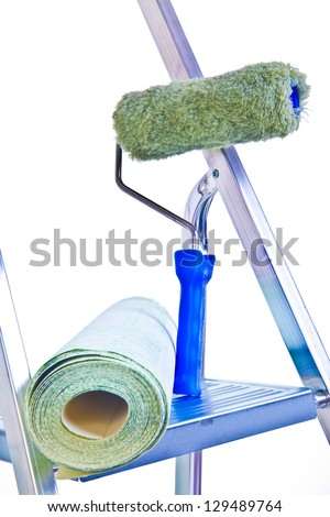 ladder wallpaper and blue brush on gray wall background