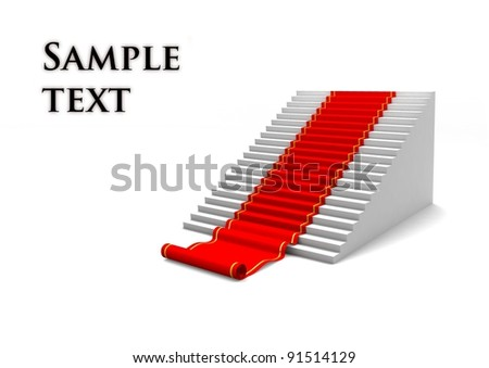 Ladder with red carpet. Concept of career or growth. 3d illustration