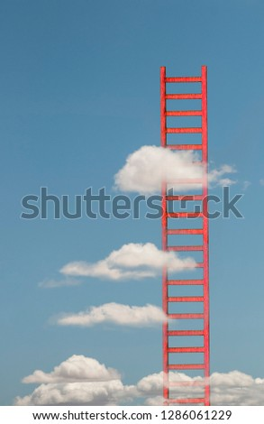 Ladders in the clouds on blue sky. Abstract concept with colored ladder and cloud. Conception for growth, rise and success. #1286061229