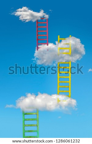 Ladders in the clouds on blue sky. Abstract concept with colored ladder and cloud. Conception for growth, rise and success. #1286061232