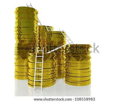 Ladders on golden coins stacks, finance concept - stock photo