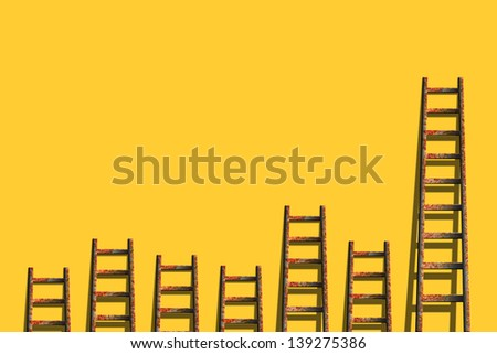 ladders on yellow wall ,competition concept