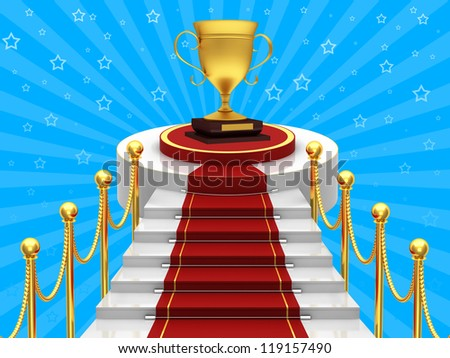 Ladders with red carpet and gold cup