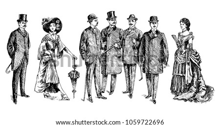 ladies and gentlemen. Man and woman figure collection. Vintage Hand Drawn Set. Clothing. Retro raster illustration in ancient engraving style