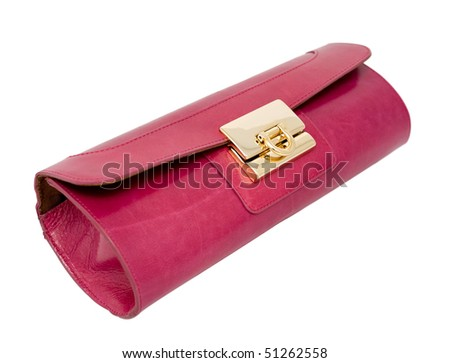 ladies leather dark pink purse without strap, clipping path