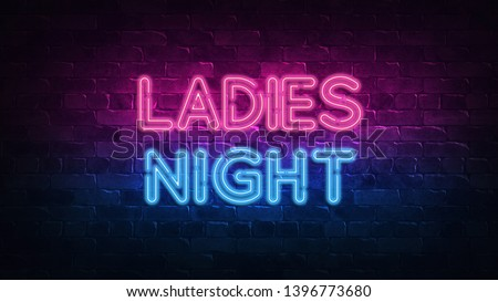 ladies night neon sign. purple and blue glow. neon text. Brick wall lit by neon lamps. Night lighting on the wall. 3d illustration. Trendy Design. light banner, bright advertisement