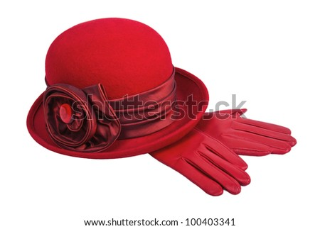 Ladies red hat and gloves