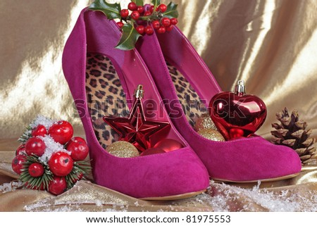 Ladies shoes with christmas decorations