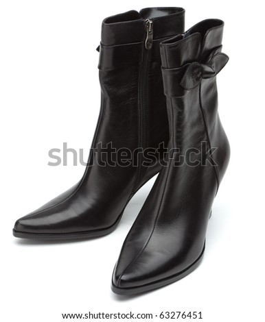Ladies short black boots on a white background