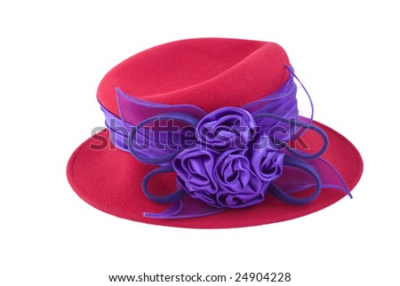ladies stylish red hat with purple silk ribbon and rosettes isolated on white background copy space