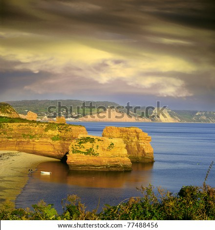 Ladram bay on the Jurassic coast, England, UNESCO World Heritage Site