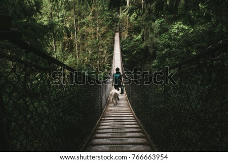 Lady and a dog walking on Lynn  Valley Bridge  #766663954