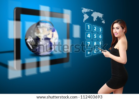 Lady and telecommunication world from touch pad : Elements of this image furnished by NASA