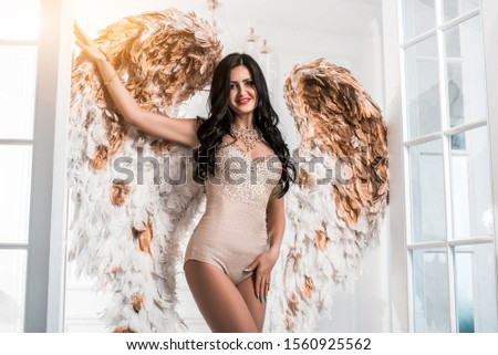 Lady brunette with angel wings3 #1560925562