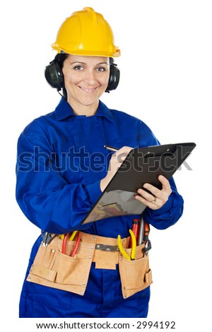 Lady construction worker a over white background