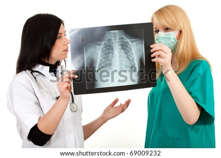 lady doctors in uniforms looking at x-ray chest, lungs