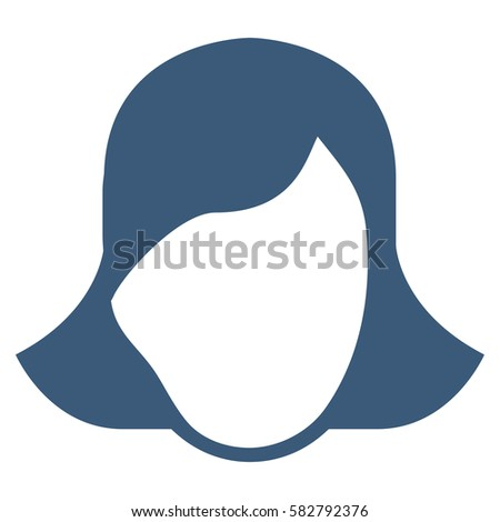 Lady Face Template glyph icon. Flat blue symbol. Pictogram is isolated on a white background. Designed for web and software interfaces. #582792376