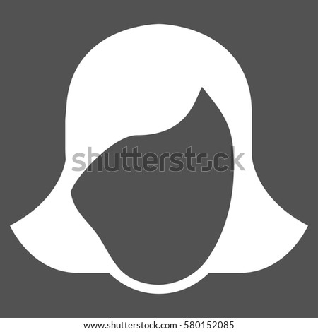 Lady Face Template glyph icon. Flat white symbol. Pictogram is isolated on a gray background. Designed for web and software interfaces. #580152085