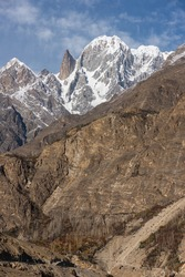 Lady finger mountain peak view from Hunza valley in autumn season, Karakoram mountains range in Gilgit Baltistan, north Pakistan, Asia