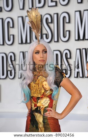 Lady GaGa at the 2010 MTV Video Music Awards at the Nokia Theatre L.A. Live in downtown Los Angeles. September 12, 2010  Los Angeles, CA Picture: Paul Smith / Featureflash