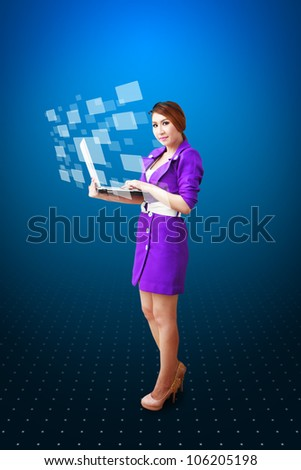Lady hold notebook computer