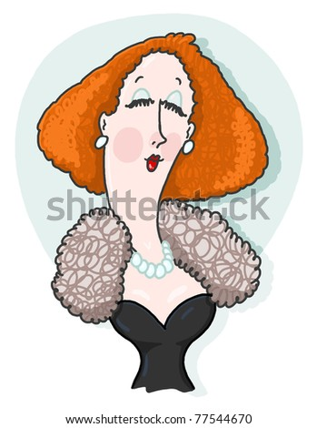 Lady illustration; Upper class woman wearing fur and pearls illustration; High society woman drawing