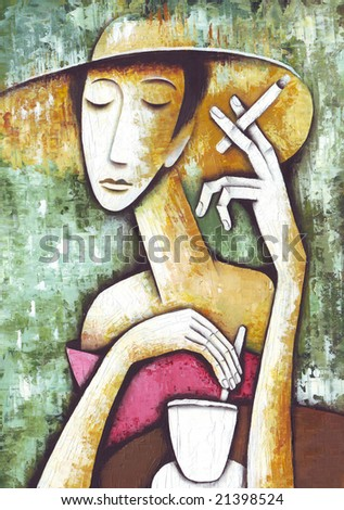 Lady in cafe. Illustration by Eugene Ivanov.