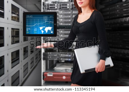 Lady in data center room and graph for monitor system