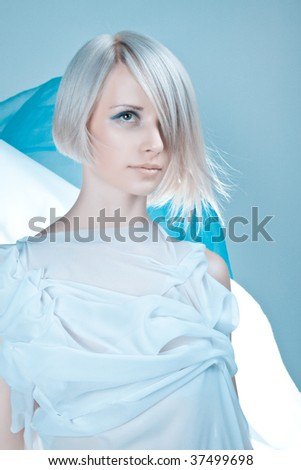 Lady in light blue toga - stock photo